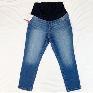 maternity crop skinny jeans crossover panel NWT